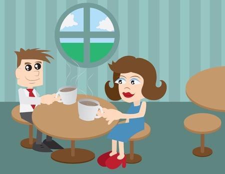 男と女のコーヒー ショップに座って