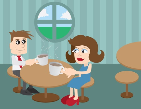Man and woman sitting at a coffee shop  Vector