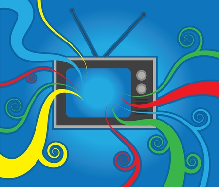 Isolated retro television with colors streaming out