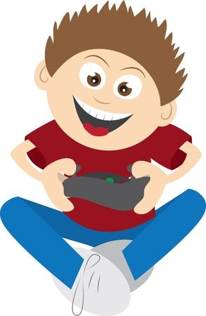 ビデオ ゲームをプレイして座っている間子供  イラスト・ベクター素材