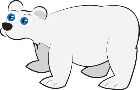 Geïsoleerde cartoon witte ijsbeer staan Stock Illustratie