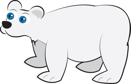 Isolated cartoon white polar bear standing  Vector
