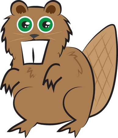 Isolated cartoon brown beaver standing