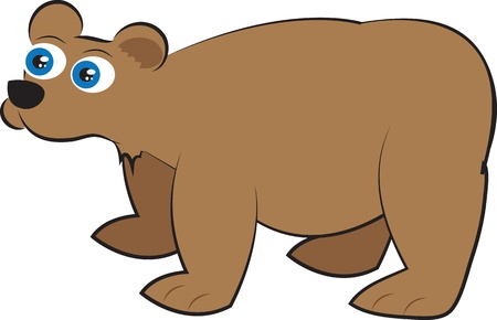 Isolated cartoon brown grizzly bear standing  Vector