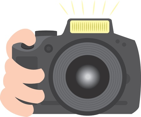taking picture: SLR camera digital or film held and taking a picture