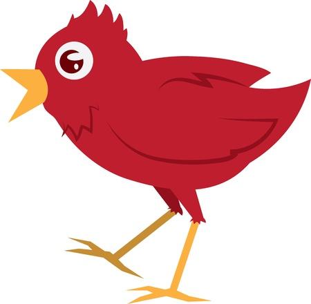 tweet icon: P�jaro rojo aislado caminar con la boca abierta