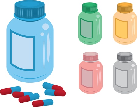 Various colored pill bottles and pills