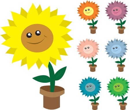 sunflower seeds: Isolated smiling potted flowers.  Various colors.  Illustration