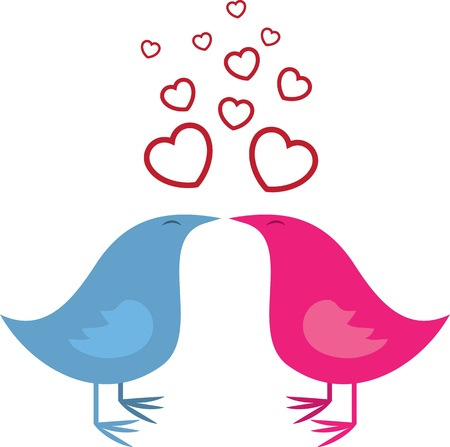 Isolated birds kissing.  Blue and Pink Birds.  Ilustração