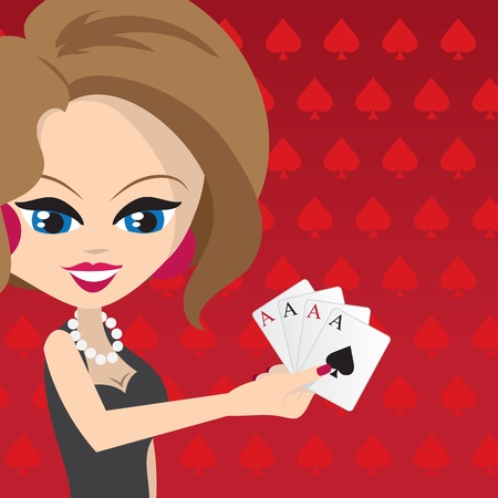 Woman holding 4 aces with red spades background.  Vector
