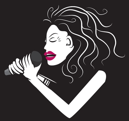 girl shadow: Woman singer holding microphone in black and white