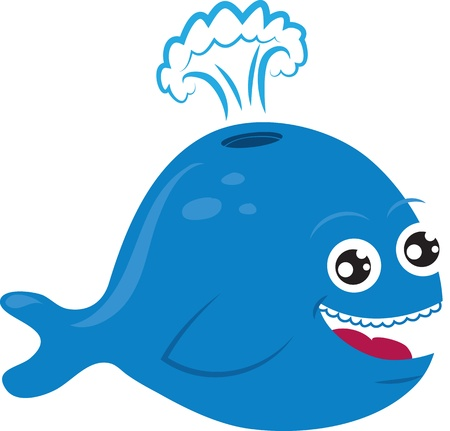 Cartoon whale smiling and spurting water  Ilustração