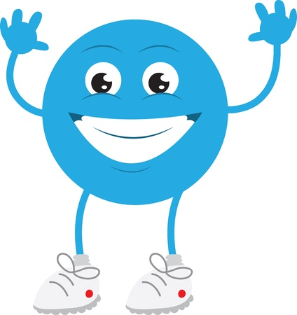 Isolated blue man smiling with hands up Stock fotó - 12472363