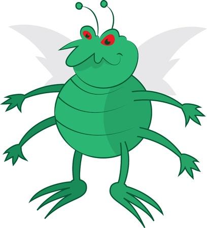 Isolated cartoon green bug standing   Ilustrace