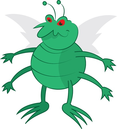filthy: Isolated cartoon green bug standing   Illustration
