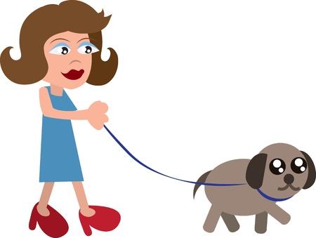 Cartoon vrouw lopen hond met een riem Stock Illustratie