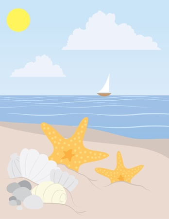 Beach scene with shells and starfish  向量圖像