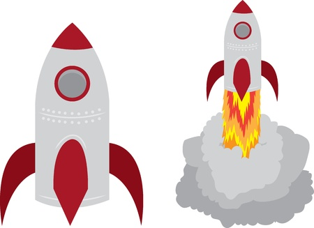 Two Isolated Rockets.  One launching off. Stock Vector - 12472368