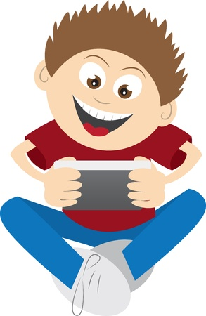 telephone cartoon: Kid playing a phone game  Illustration