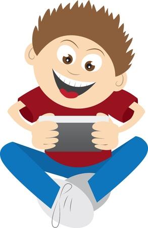 niños jugando videojuegos: Niños jugando a un juego de teléfono