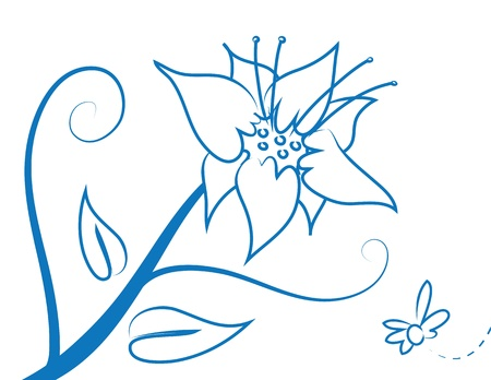fresh flowers: Abstract flower outline with insect