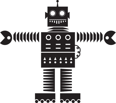 Isolated robot silhouette outline with wheels  Vector