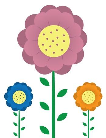 three dots: Three tall flowers.  Pink orange and blue.