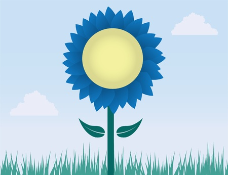 Blue flower in field of grass Stock Vector - 12472387