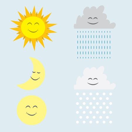 luna caricatura: Sol, luna, lluvia y nieve nubes con rostros