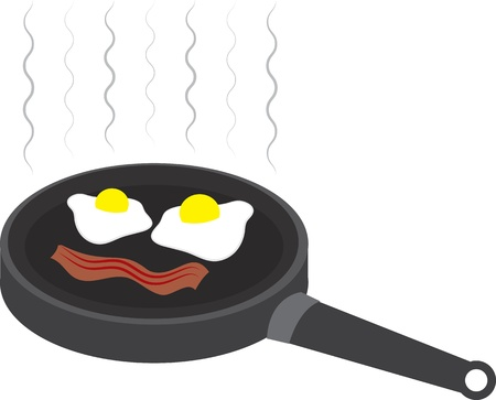 breakfast in bed: Eggs and Bacon sizzling in a pan  Illustration