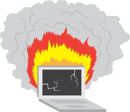 Laptop computer broken and on fire  Vector