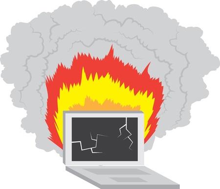 broken computer: Laptop computer broken and on fire