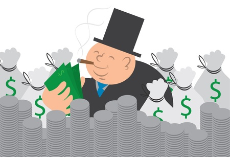 Heavy man counting his money.  Surrounded by coins and moneybags. Stock Vector - 12472394
