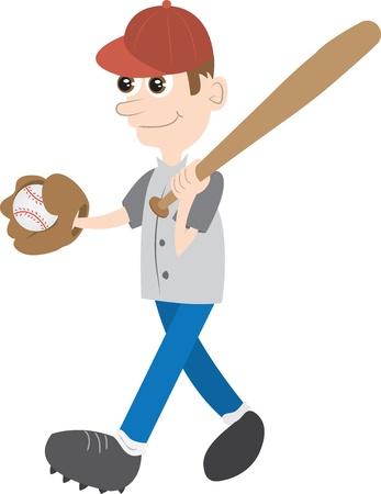 baseball cartoon: Kid holding baseball bat and ball