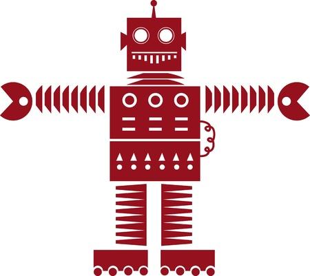 Geïsoleerde rode robot silhouet, schets, met wielen Stock Illustratie