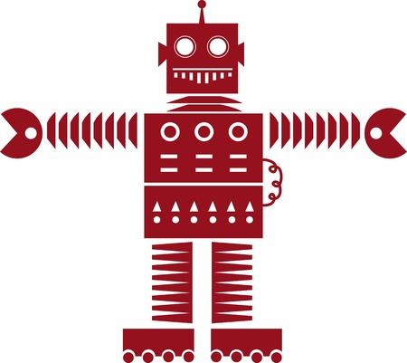 Isolated red robot silhouette outline with wheels  Vector