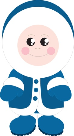Isolated standing eskimo boy bundled up.  Ilustrace
