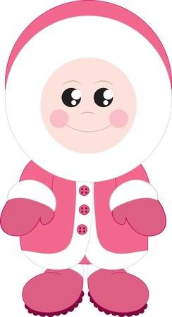 cold: Isolated standing eskimo girl bundled up.  Illustration