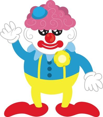 clown shoes: Isolated cartoon clown with purple hair
