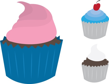 Three isolated cupcakes with frosting  Stock Vector - 12472405