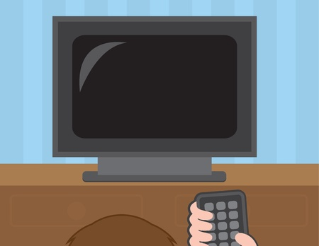 tv remote: Watching TV and holding remote control  Illustration