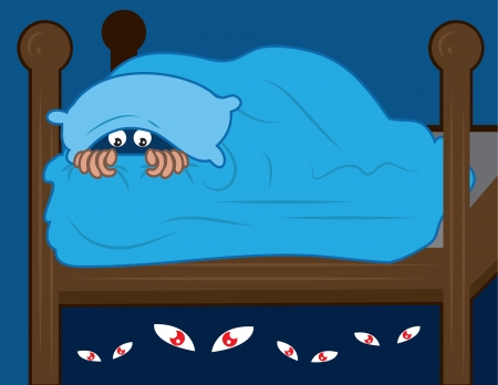 Kid hiding in covers from monsters under the bed.  Illustration