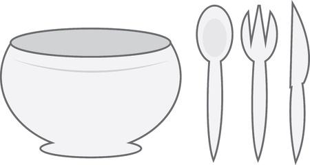 숟가락, 포크, 나이프와 만화 그릇