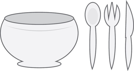 bowl of cereal: Cartoon bowl with spoon, fork and knife