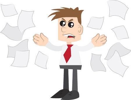 Isolated business man angrily throwing papers  Illustration