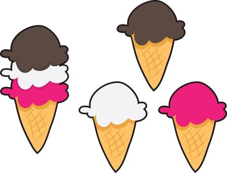 Drie smaken ijs schept. Vanille, chocolade en aardbei.