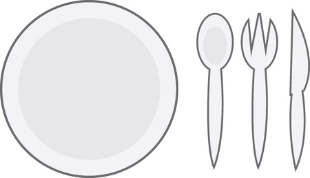 Cartoon plate with spoon, fork and knife