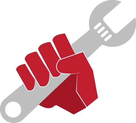 Red hand holding a wrench