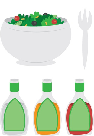 Cartoon bowl of salad with dressing and fork  Ilustrace