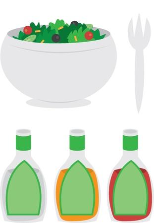 preparing food: Cartoon bowl of salad with dressing and fork  Illustration